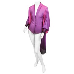 Alexander McQueen Ombred Purple Silk Blouse with Long Shirt Tails, Never Worn