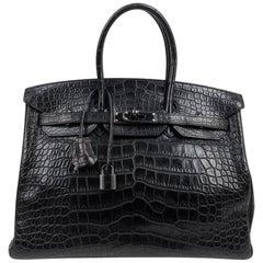 Hermes Birkin 35 Bag So Black Matte Alligator Black Hardware Limited Edition