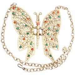 Große Vergoldete Metall Schmetterling Halskette mit Cabochon DEC Delizza & Elster, 1970er Jahre