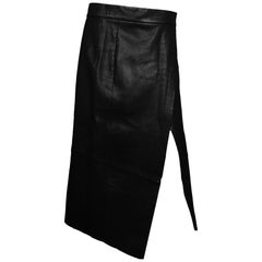Veda Black Leather Crosby Midi Wrap Skirt Sz L