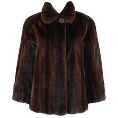 GEOFFREY BEENE c.1980's Dark Brown Genuine Mink Fur Jacket Coat