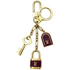 Louis Vuitton LV Burgundy/Gold Porte Cles Cadenas Lock/Key Bag Charm/Key Chain