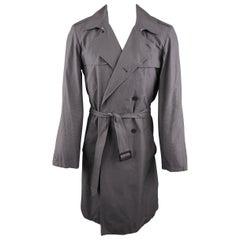 Men's AGNES B. L Dark Gray Grid Cotton Trenchcoat