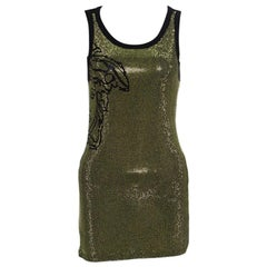 Versace Collection Black Medusa Icon Embellished Tank Top S