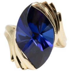 Custom Cut Created Sapphire Cocktail Ring in 14 Karat Gold
