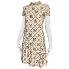 1960s White  Malcolm Starr Beaded Mini Party Dress