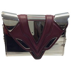 4b90050ddac0 Elena Ghisellini Metallic Silver and Burgundy Crossbody