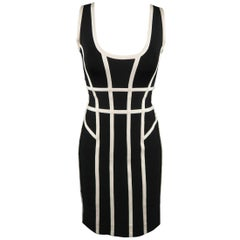 HERVE LEGER Size M Black & White Sleeveless MAE Cocktail Dress