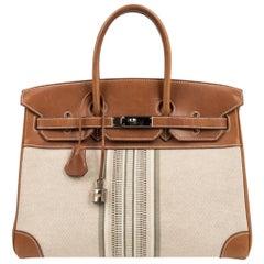 Hermes Birkin 35 Bag Rare H Ganges Toile Barenia Limited Edition Palladium