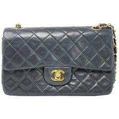 Chanel Small Double Flap Black Lambskin Handbag in Box Circa 1989-1991