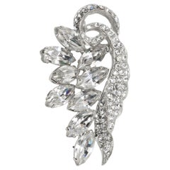 Vintage Floral Motif Clear Crystal Brooch Pin, Rhodium Plated, Circa Mid 1900s
