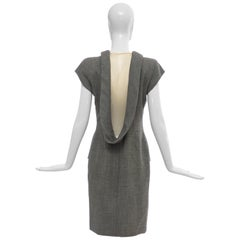"Alexander McQueen Grey Wool Twill Mesh Nylon Dress ""Untitled"", Spring 1998"