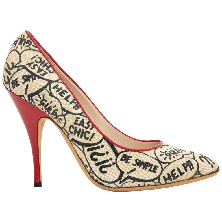 Moschino Printed Stiletto With Red Leather Heels And Trim