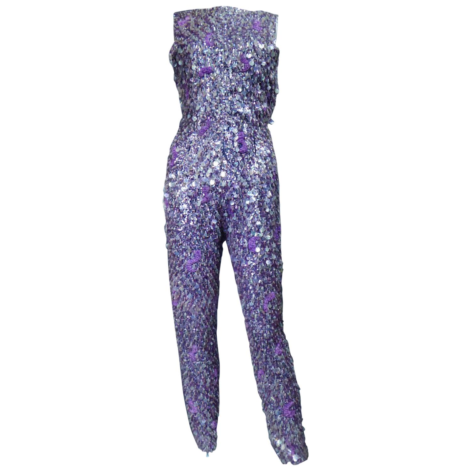 Mila Schön Sequin Embroidered Trousers Suit Circa 1968