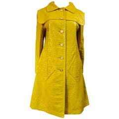 Pierre Cardin Modernist Coat in Mustard Yellow Vinyl Circa 1970