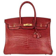 2008 Hermès Rouge Cerise Matte Porosus Crocodile Leather Birkin 35cm