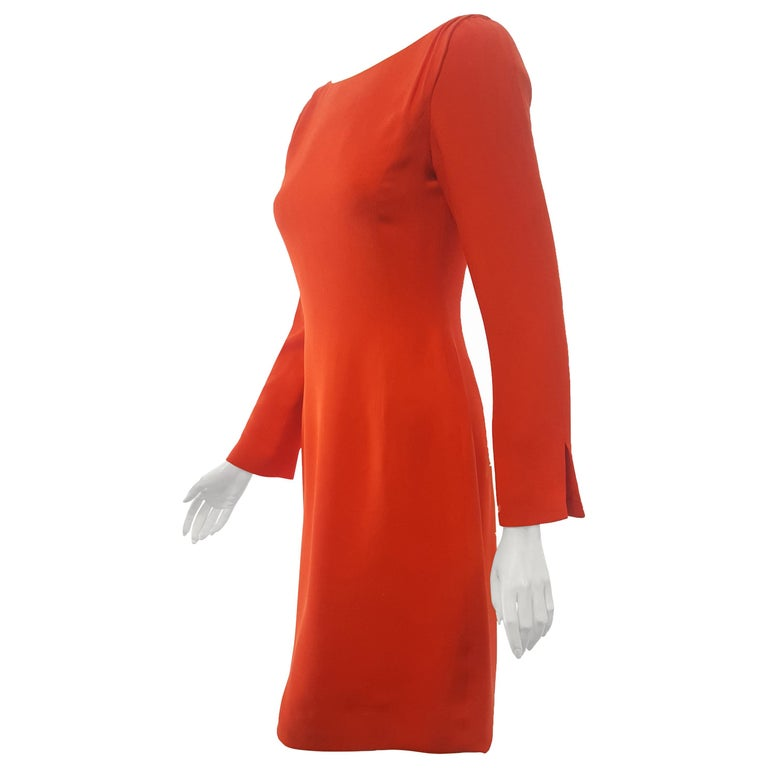 Carolina Herrera Red Crepe Long Sleeve Dress For Sale