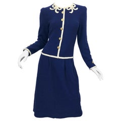 Vintage Adolfo For Saks 5th Avenue Navy Blue + Ivory Knit Embroidered Bow Dress