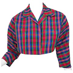 Early 1990s Betsey Johnson Red Blue Green Taffeta Plaid Vintage Cropped Jacket