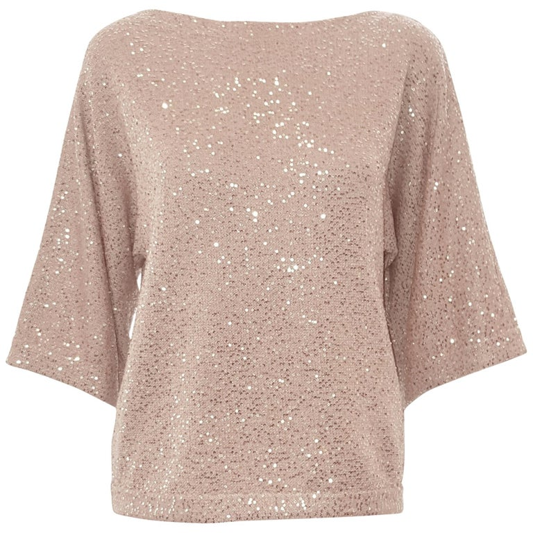 Oscar de la Renta Bateau Neckline 3/4 Sleeve Sequin Sweater For Sale