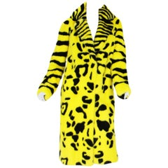 New Versace Intarsia Mink Yellow Black Coat F/W 2013 Collection