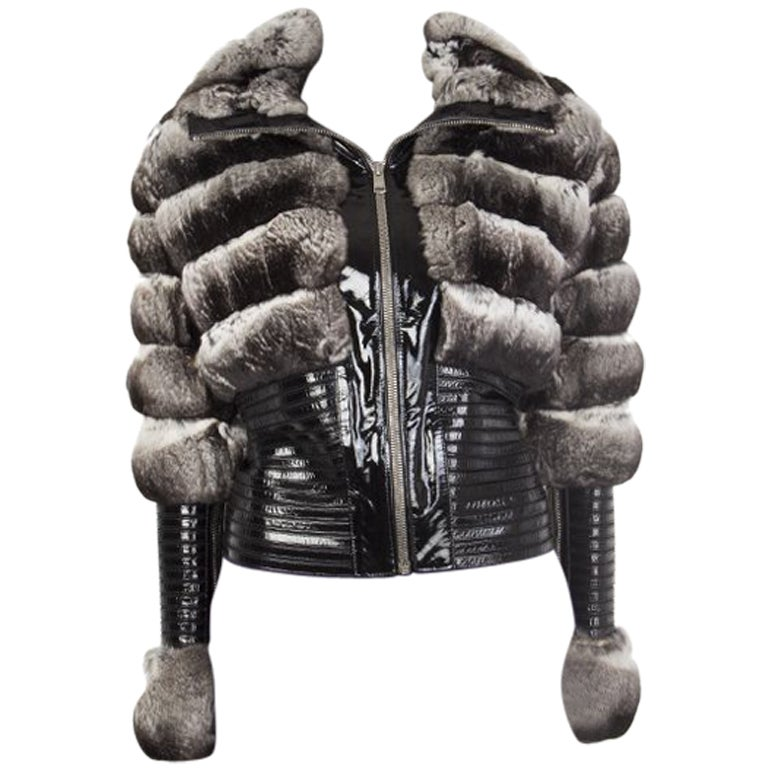 JITROIS silver CHINCHILLA FUR & Patent Leather Jacket Sz. F 36 / XS