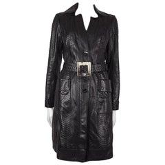 JITROIS black PYTHON SNAKESKIN Leather Trench Coat Sz. F 38 / S