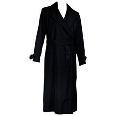 Black Vintage Yves Saint Laurent Silk Trench Coat
