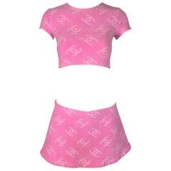 S/S 1996 Chanel Barbie Bubblegum Pink Logo Velour Crop Top & Mini Skirt Set