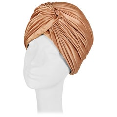 Turban hat in Apricot Satin Made in Italy 1950s