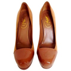 YVES SAINT LAURENT High Heels in Brown Velvet and Patent Leather Size 37