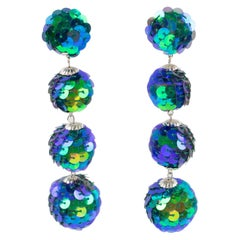 Turquoise Blue Sequin Disco Balls Dangling Chandelier Clip on Earrings