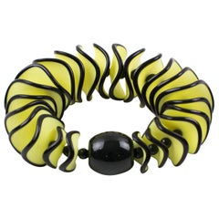 Angela Caputi Yellow and Black Resin Oversized Stretch Bracelet