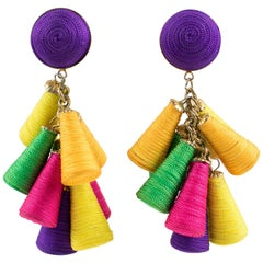 Oversized Italian Thread Dangling Clip on Earrings with Multicolor Charm