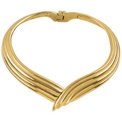 Yves Saint Laurent YSL Paris Gilt Metal Rigid Dog Collar Necklace