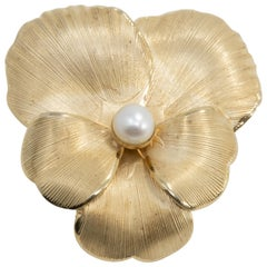 Danecraft Flower Pin Brooch, Textured Gold and Cultured Pearl