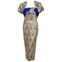 1955 Maxwell Shieff Couture Novelty Warrior-Print Lamé Strapless Dress & Bolero