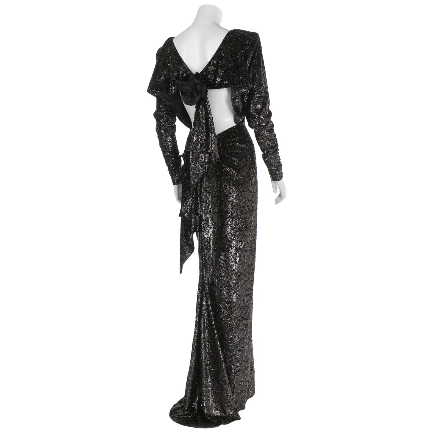 Rare 2 in 1 Yves Saint Laurent Couture Crushed Velvet Numbered Dress c. 1986