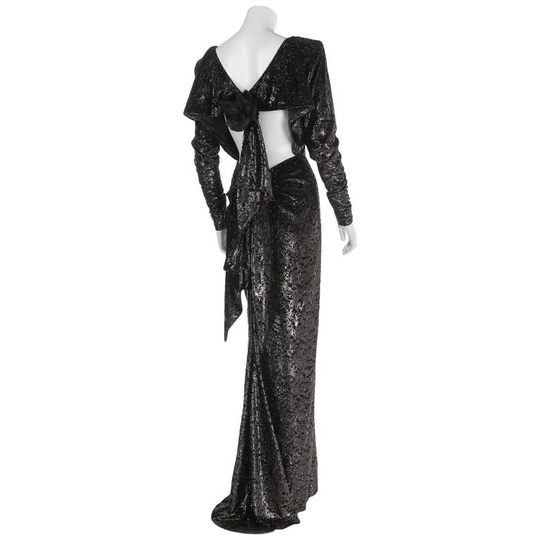 Rare 2 in 1 Yves Saint Laurent Couture Crushed Velvet Numbered Dress c. 1986 For Sale