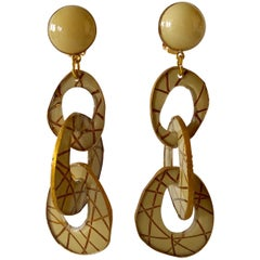 Architectural Contemporary Designer Taupe Gold Statement Earrings
