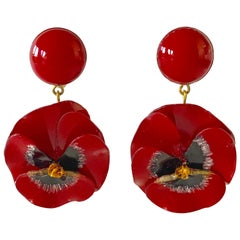 Red and Black Pansy Flower Statement Earrings