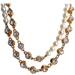 Chanel Pearl and Rhinestone Sautoir Necklace