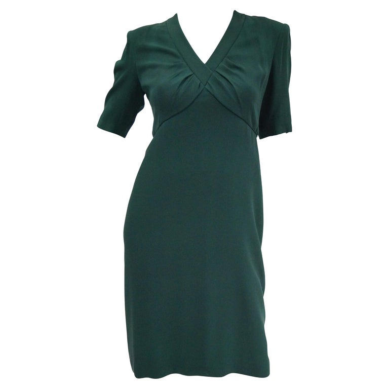 1990s Dior Haute Couture Green Silk Cocktail Dress, Numbered For Sale