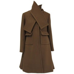1970s Galanos Brown Wool Coat with Pleat Detail and Wooden Buttons