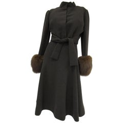 1960s Pauline Trigere Grey Wool Suit with Fox Fur Cuff & Rhinestone Details