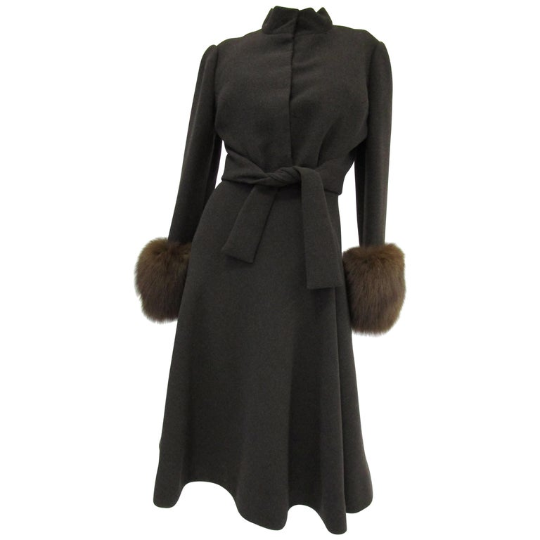 1960s Pauline Trigere Grey Wool Suit with Fox Fur Cuff & Rhinestone Details For Sale