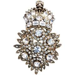 1984 R. Serbin Crystal Royal Crest Brooch Pin