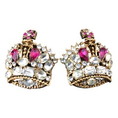 1984 R. Serbin Pair of Crystal Royal Crown Earrings