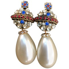 1984 R. Serbin Pair of Crystal Royal Orb Earrings with Faux Pearl Drops