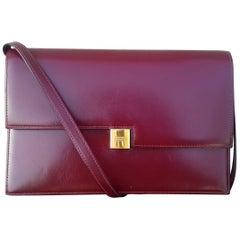 Exceptionnal Rare Vintage Hermès Padlock Purse Clutch Bag Burgundy Leather Ghw
